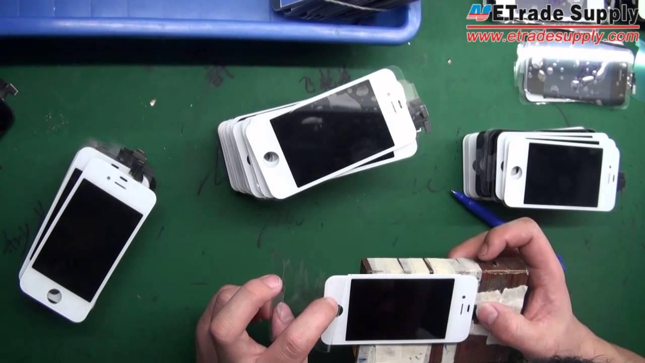 割れたiPhoneのフロントガラスを買い取った業者が行う新しいフロントパネルへの方法動画