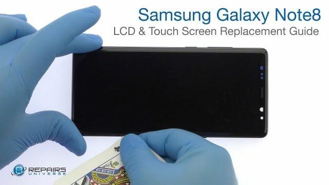Samsung Galaxy Note8 液晶パネル フロントパネル ガラス割れ 修理方法動画